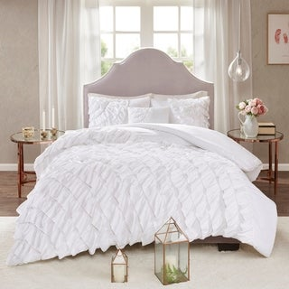 Madison Park Noreen White 100-percent Polyester Microfiber Ruffled Duvet Cover Set