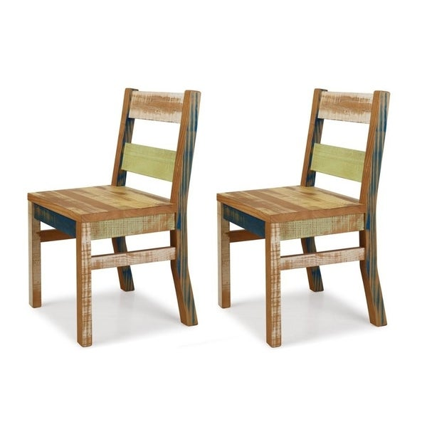 The Beach House Design Multicolor Reclaimed Pine Dining Chairs (Set Of 2)