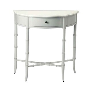 Butler Skilling Glossy White Solid Rubberwood Demilune Console Table