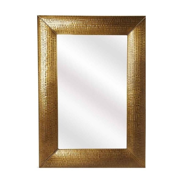 Shop Offex Lehigh Hammered Gold Frame Distressed Iron Wall Mirror ...