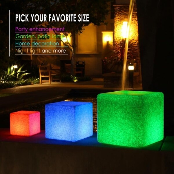 Color Changing Waterproof LED Cube Light Decor Garden Outdoor Indoor w//Remote