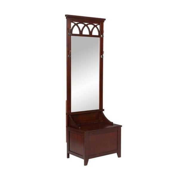 Shop Crowley Cherry Finished Wood Mirrored Hall Tree