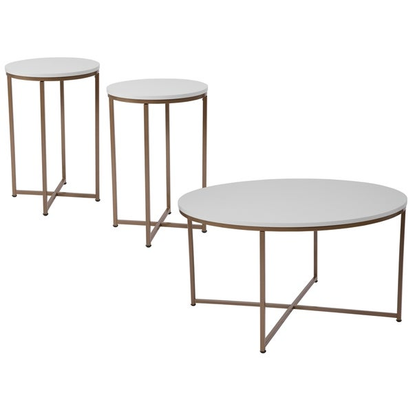 """3 Piece Coffee and End Table Set in White with Matte Gold Frames - 15.75"""" - 35.5""""W x 15.75"""" - 35.5""""D x 19.25"""" - 24""""H"""