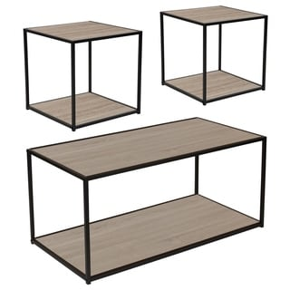 Midtown Collection 3 Piece Wood Grain Finish Table Set with Metal Frame