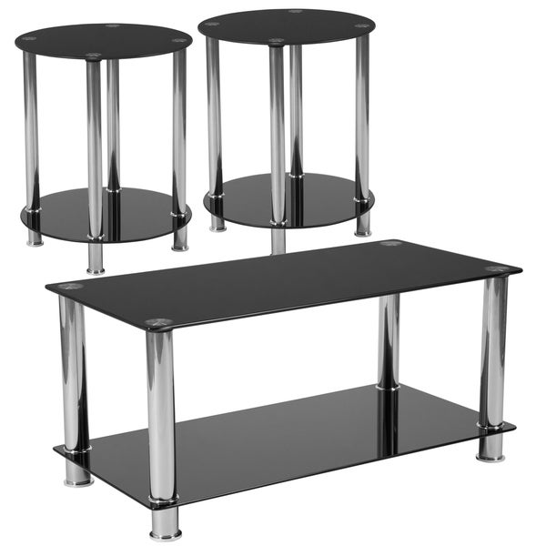 3 Piece Coffee & End Table Set with Black Glass Tops & Stainless Steel Frames