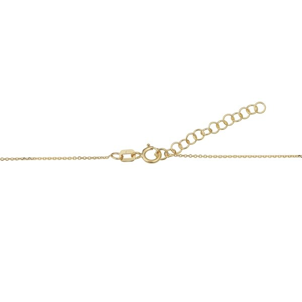 925 Sterling Silver Gold-Flashed Curved Cubic Zirconia Bar Adjustable Necklace 18 Inch