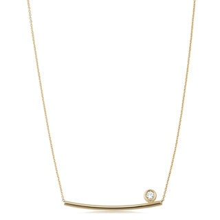 Fremada 14k Yellow Gold Genuine Swarovski Cubic Zirconia Curved Bar Adjustable Necklace (adjusts from 17 to 18 inches)
