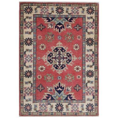 Handmade One-of-a-Kind Kazak Vegetable Dye Wool Rug (Afghanistan) - 2' x 3'