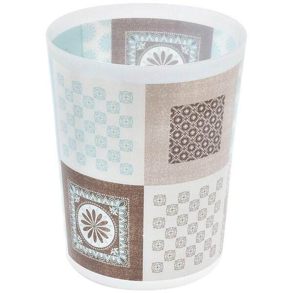 Faience Printed Waste Basket Floor Trash Can 4.5-Liter/1.2-Gals