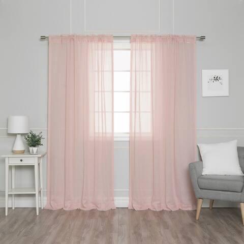 "Aurora Home Textured Faux Linen Rod Pocket Curtain Panel Pair - 52""W x 84""L"