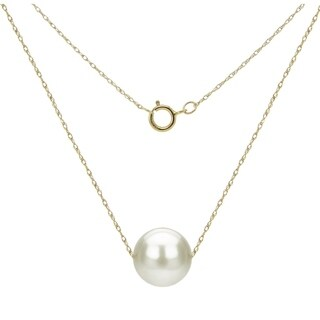 DaVonna 14k Gold Necklace with White Freshwater Floating Pearl Jewelry Necklace, 18""