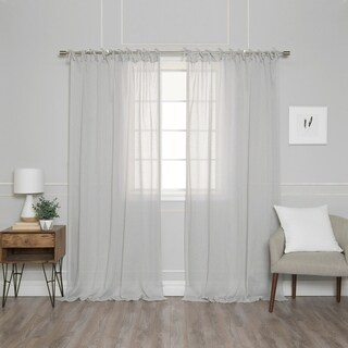 "Aurora Home Textured Faux Linen Tie Top Curtain Panel Pair - 52""W x 84""L"