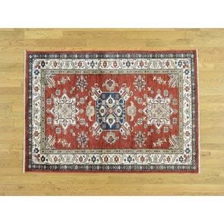 """Hand Knotted Red Kazak with Wool Oriental Rug (4'1"""" x 5'9"""") - 4'1"""" x 5'9"""""""