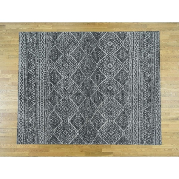 Shop Hand Knotted Black Modern Contemporary With Wool Oriental Rug