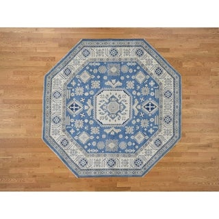 """Hand Knotted Blue Kazak with Wool Oriental Rug (7'10"""" x 7'10"""") - 7'10"""" x 7'10"""""""