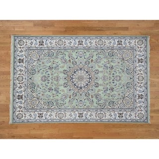 "Hand Knotted Green Fine Oriental with Wool & Silk Oriental Rug (6' x 9'1"") - 6' x 9'1"""