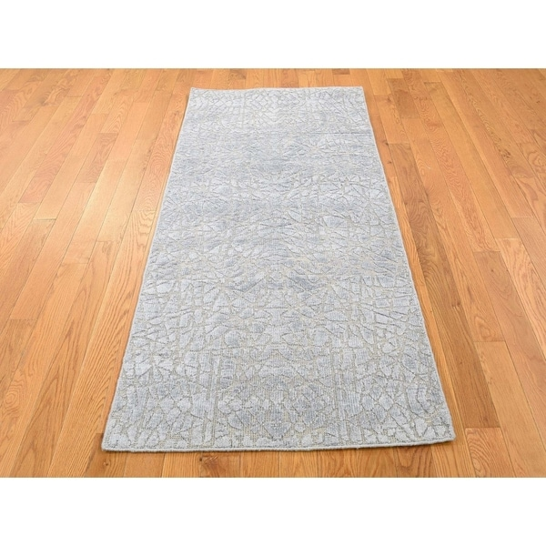 Wool Silk Rugs Contemporary: Shop Hand Knotted Green Modern & Contemporary With Wool