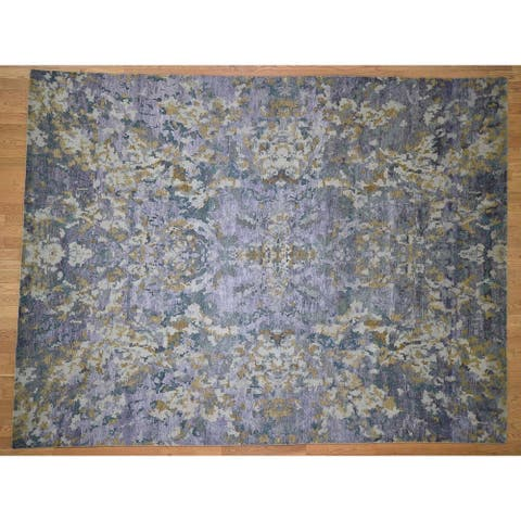 """Hand Knotted Purple Modern & Contemporary with Wool & Silk Oriental Rug (8'10"""" x 11'7"""") - 8'10"""" x 11'7"""""""