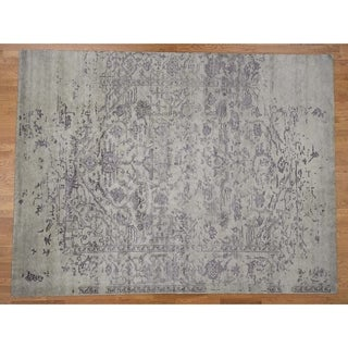 """Hand Knotted Grey Modern & Contemporary with Wool & Silk Oriental Rug (9'1"""" x 12') - 9'1"""" x 12'"""