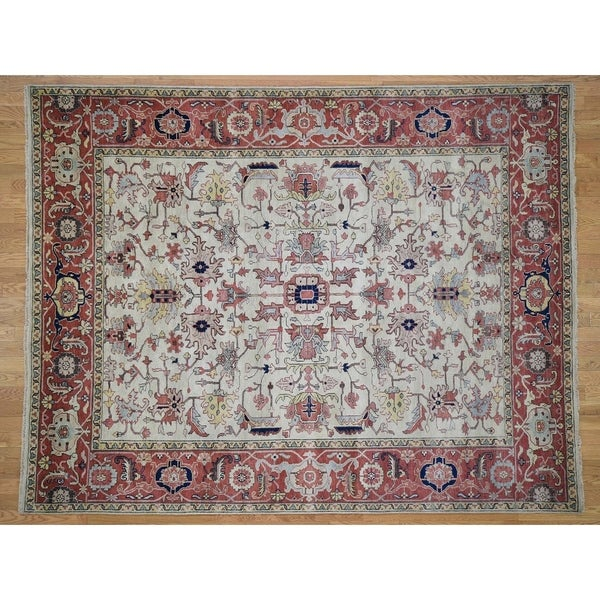 Hand Knotted Ivory Heriz With Wool Oriental Rug 8 X 10 2 8 X