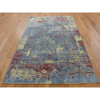 "Hand Knotted Blue Modern & Contemporary with Wool & Silk Oriental Rug (3'10"" x 5'10"") - 3'10"" x 5'10"""