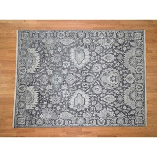 """Hand Knotted Grey Oushak And Peshawar with Wool Oriental Rug (7'9"""" x 10') - 7'9"""" x 10'"""