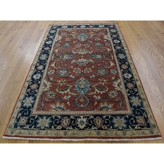 Hand Knotted Red Heriz with Wool Oriental Rug (4' x 6') - 4' x 6'