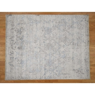 """Hand Knotted Ivory Modern & Contemporary with Wool & Silk Oriental Rug (7'9"""" x 9'10"""") - 7'9"""" x 9'10"""""""