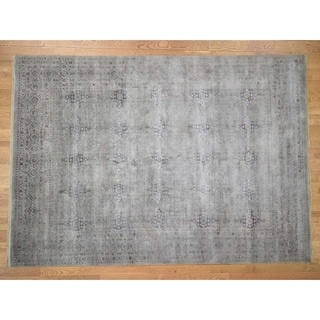 "Hand Knotted Grey Modern & Contemporary with Wool & Silk Oriental Rug (9'10"" x 13'10"") - 9'10"" x 13'10"""