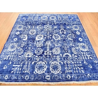Hand Knotted Blue Modern & Contemporary with Wool Oriental Rug (4' x 4') - 4' x 4'
