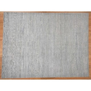 Hand Knotted Grey Modern & Contemporary with Wool Oriental Rug (9' x 12') - 9' x 12'