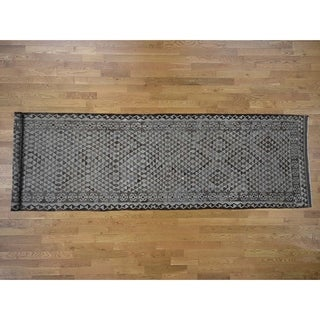 """Hand Knotted Brown Flat Weave with Wool Oriental Rug (4'5"""" x 16'8"""") - 4'5"""" x 16'8"""""""