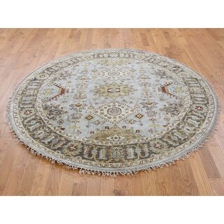 Hand Knotted Grey Heriz with Wool Oriental Rug (4' x 4') - 4' x 4'