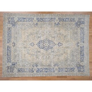 """Hand Knotted Ivory Overdyed & Vintage with Wool Oriental Rug (9'7"""" x 13'7"""") - 9'7"""" x 13'7"""""""