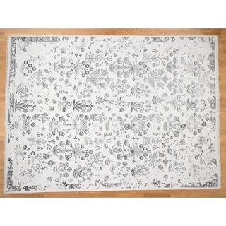 """Hand Knotted Ivory Fine Oriental with Wool Oriental Rug (9' x 12'4"""") - 9' x 12'4"""""""