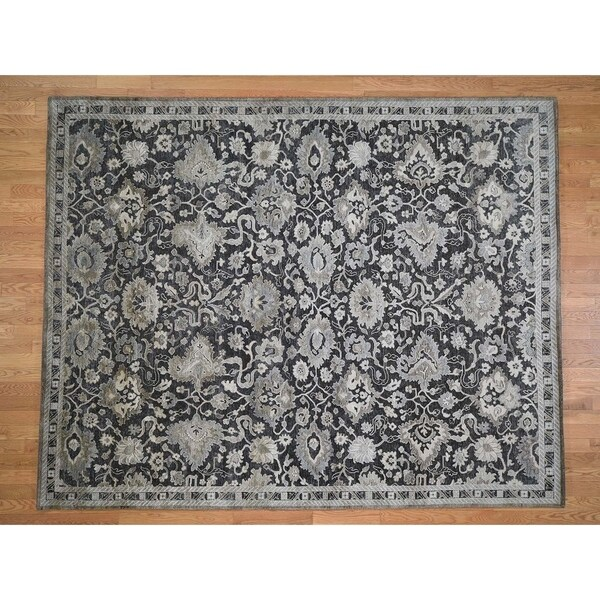 Shop Hand Knotted Grey Oushak And Peshawar With Wool Oriental Rug 8