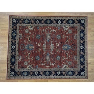 Hand Knotted Red Heriz with Wool Oriental Rug (8' x 10') - 8' x 10'