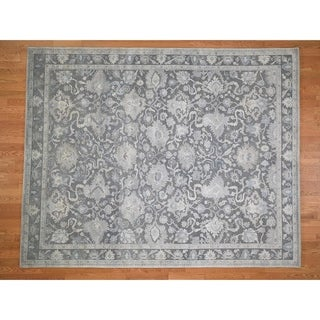 """Hand Knotted Grey Oushak And Peshawar with Wool Oriental Rug (8'1"""" x 10') - 8'1"""" x 10'"""