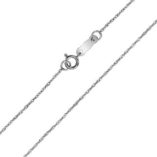 10K White Gold 0 8mm Singapore Chain With Spring Ring Clasp 16 Inch