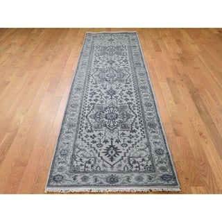"Hand Knotted Grey Heriz with Wool Oriental Rug (2'7"" x 10'1"") - 2'7"" x 10'1"""