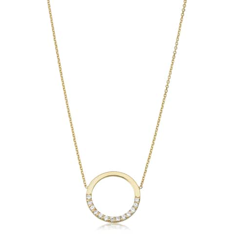 Fremada 14k Yellow Gold Genuine Swarovski Cubic Zirconia Open Circle Adjustable Necklace (adjusts to 17 or 18 inches)