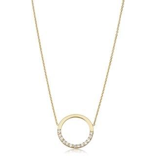 Fremada 14k Yellow Gold Genuine Swarovski Cubic Zirconia Open Circle Adjustable Necklace (adjusts to 17 or 18 inches)