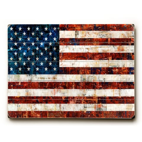 American Flag Collage - Planked Wood Wall Decor by Stella Bradley