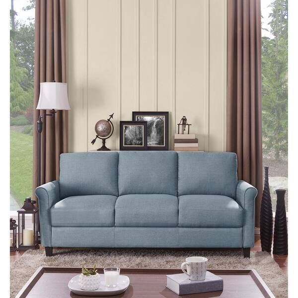 Shop Handy Living Calhan Light Blue Textured Linen Sofa - On ...