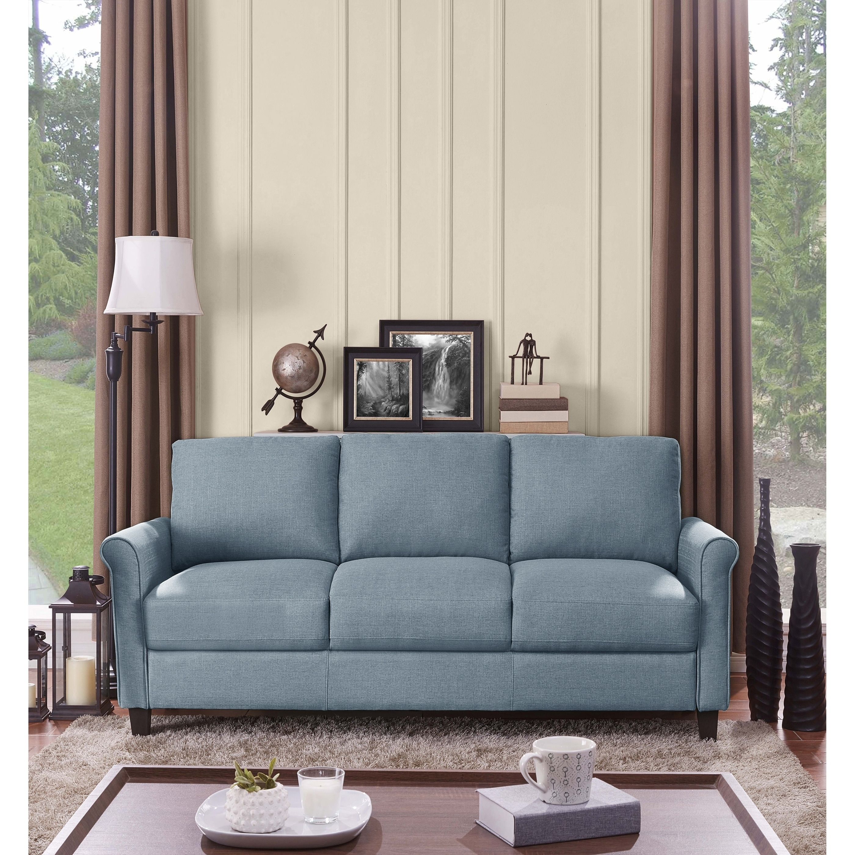 Handy Living Calhan Light Blue Textured Linen Sofa