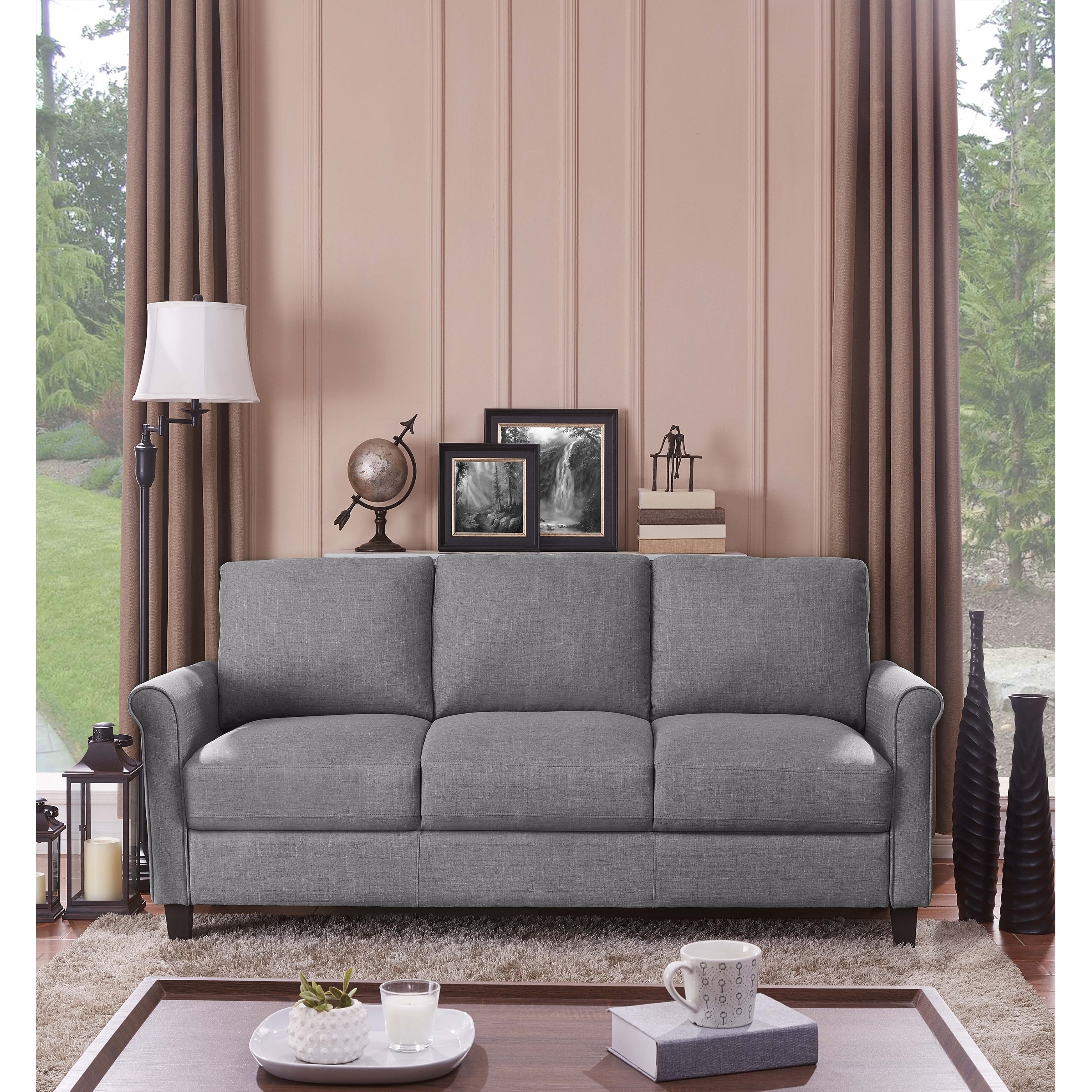 Details About Handy Living Calhan Grey Textured Linen Sofa Grey