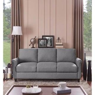 Handy Living Calhan Grey Textured Linen Sofa