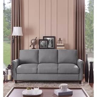 Handy Living Calhan Grey Textured Linen Sofa