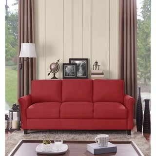 Handy Living Calhan Red Textured Linen Sofa
