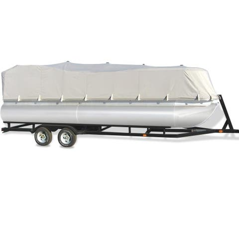 Pyle Armor Shield Trailer Guard Waterproof Pontoon Boat Cover, Marine Polyester Cover Full Size fits 21-24-Feet x 96-Inch